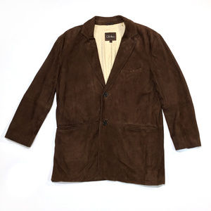 Cole Haan Brown Goatskin Leather Suede Blazer